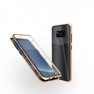Магнитен 360° калъф от 2 части за Samsung Galaxy S8 със стъкло отпред и отзад, Златист
