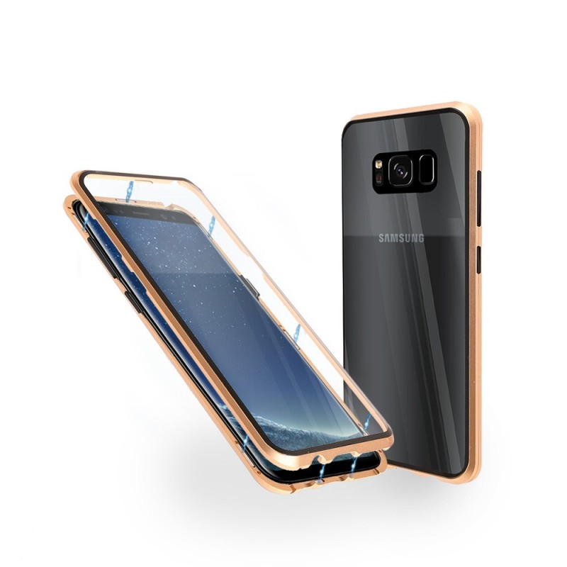 Магнитен 360° калъф от 2 части за Samsung Galaxy S8 Plus със стъкло отпред и отзад, Златист
