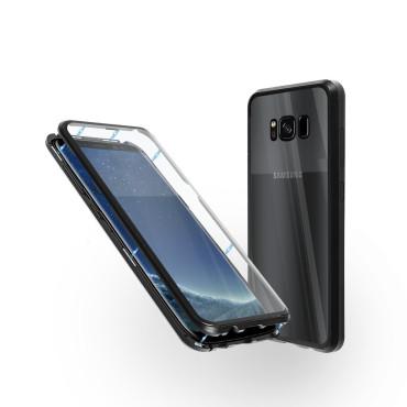 Магнитен 360° калъф от 2 части за Samsung Galaxy S8 със стъкло отпред и отзад, Черен