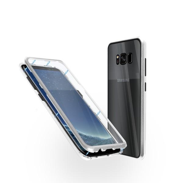 Магнитен 360° калъф от 2 части за Samsung Galaxy S8 със стъкло отпред и отзад, Сребрист