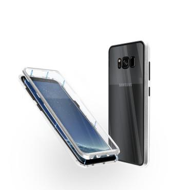 Магнитен 360° калъф от 2 части за Samsung Galaxy S8 Plus със стъкло отпред и отзад, Сребрист