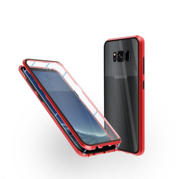 Магнитен 360° калъф от 2 части за Samsung Galaxy S8 със стъкло отпред и отзад, Червен