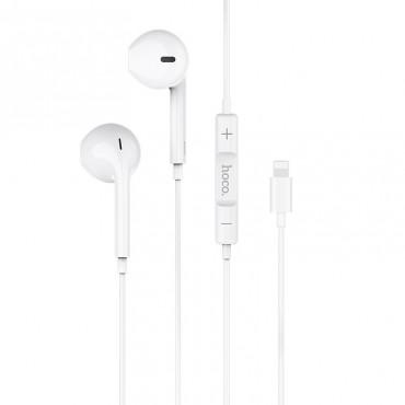 Оригинални слушалки за iPhone Hoco L7, С Lightning порт, Микрофон, Бели