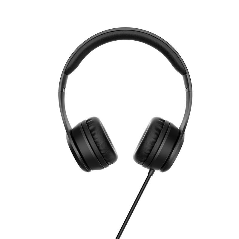 Слушалки Hoco W21 с кабел, Тип On-ear, Сгъваеми, Hi-Fi Стерео, Черни