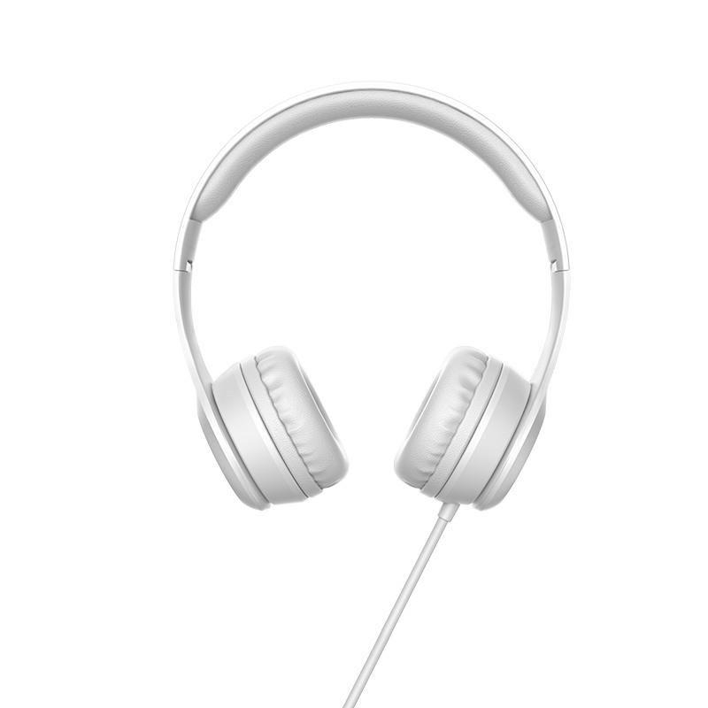 Слушалки Hoco W21 с кабел, Тип On-ear, Сгъваеми, Hi-Fi Стерео, Бели