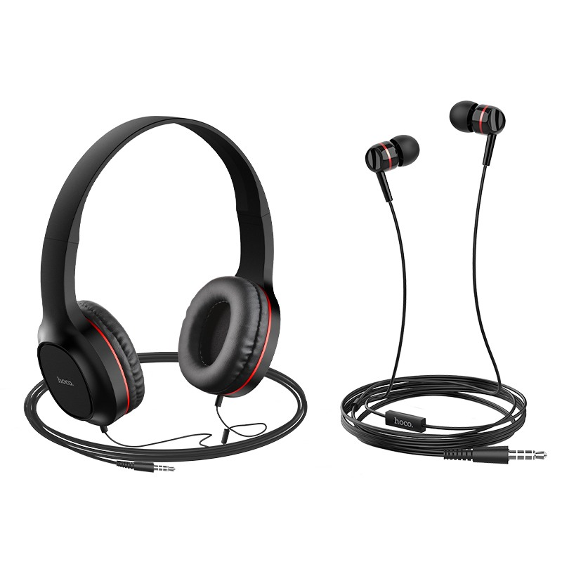 Комплект Слушалки Hoco W24, Тип On-Ear и Tип тапи, Черни с червено