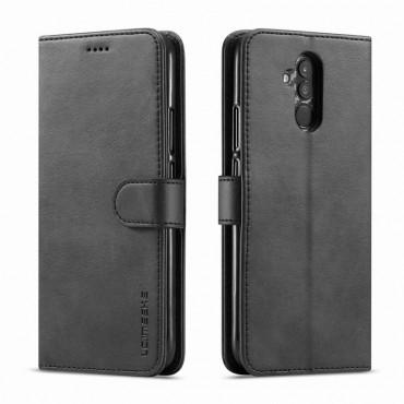 Луксозен кожен флип калъф/тип тефтер за Huawei Mate 20 Lite, LC.IMEEKE, Черен