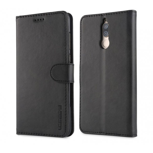 Луксозен кожен флип калъф/тип тефтер за Huawei Mate 10 Lite, LC.IMEEKE, Черен