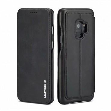 360° Кожен флип кейс/калъф за Samsung Galaxy S9, LC.IMEEKE, Магнитно Затваряне, Черен