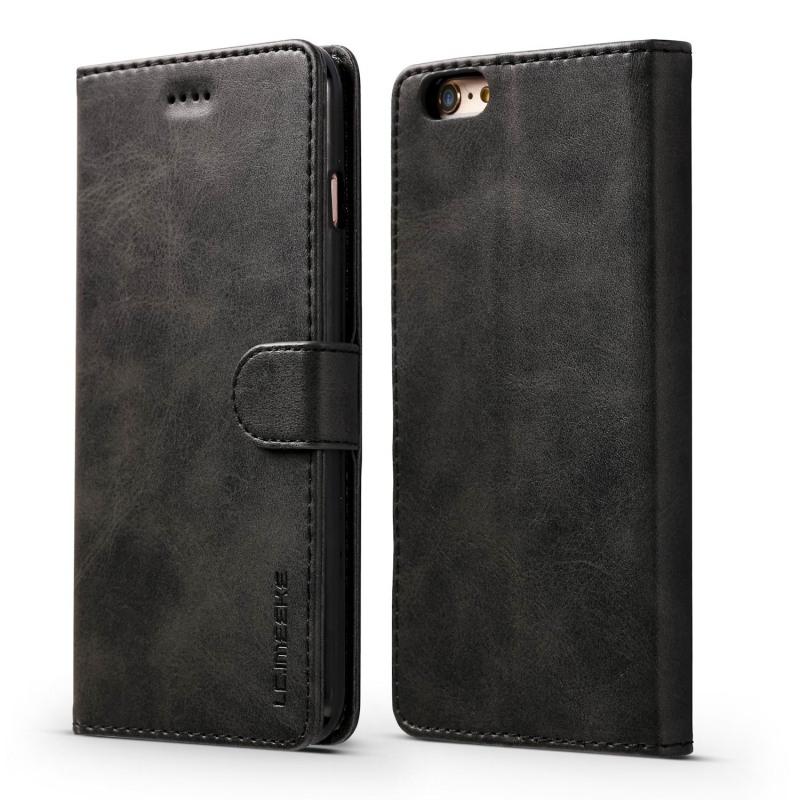 Луксозен кожен флип калъф/тип тефтер за iPhone 8, LC.IMEEKE, Черен