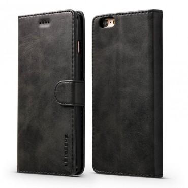 Луксозен кожен флип калъф/тип тефтер за iPhone 7, LC.IMEEKE, Черен