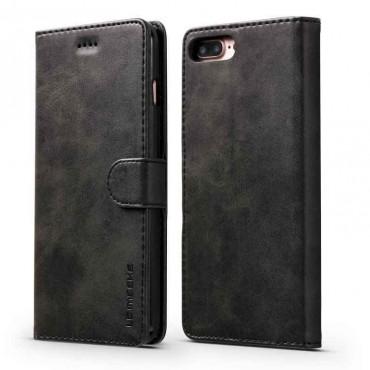 Луксозен кожен флип калъф/тип тефтер за iPhone 7 Plus, LC.IMEEKE, Черен