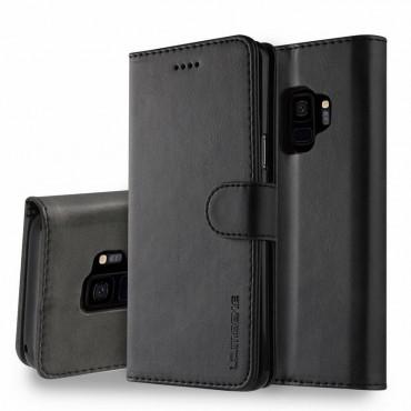 Луксозен кожен флип калъф/тип тефтер за Samsung Galaxy S9, LC.IMEEKE, Черен