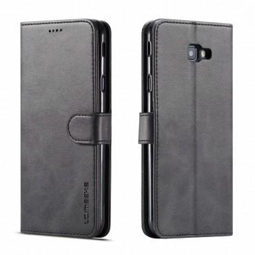Луксозен кожен флип калъф/тип тефтер за Samsung Galaxy J4 Plus (2018), LC.IMEEKE, Черен