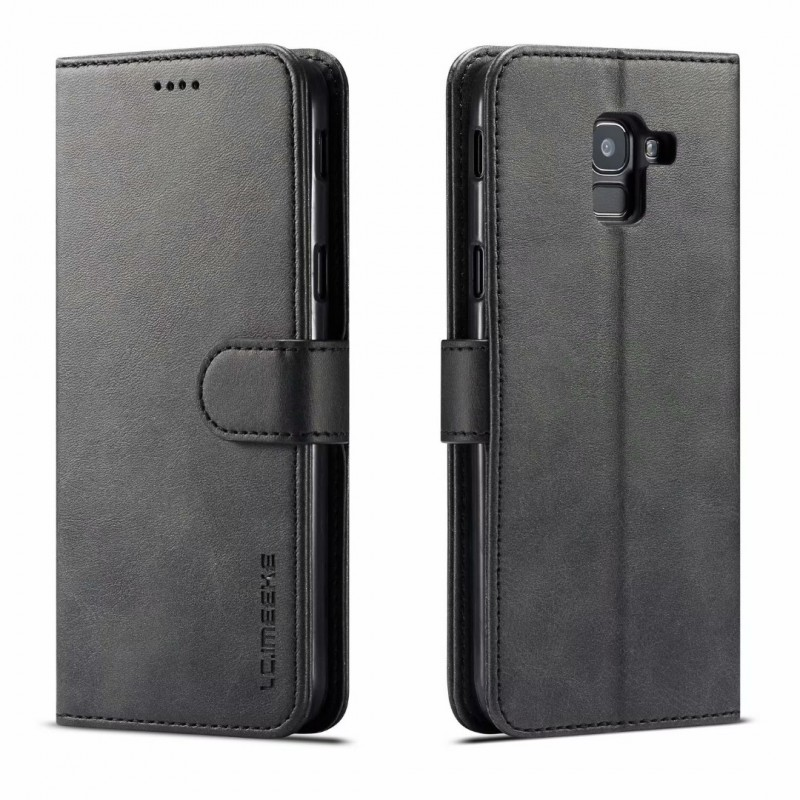 Луксозен кожен флип калъф/тип тефтер за Samsung Galaxy J6 (2018), LC.IMEEKE, Черен