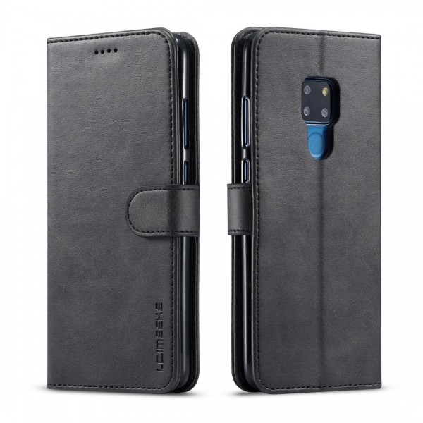 Луксозен кожен флип калъф/тип тефтер за Huawei Mate 20, LC.IMEEKE, Черен