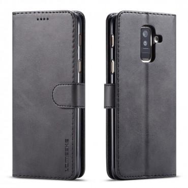 Луксозен кожен флип калъф/тип тефтер за Samsung Galaxy A6 Plus (2018), LC.IMEEKE, Черен