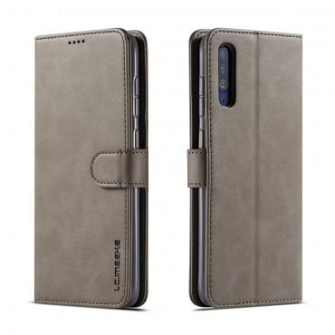 Луксозен кожен флип калъф/тип тефтер за Samsung Galaxy А30s, LC.IMEEKE, Сив