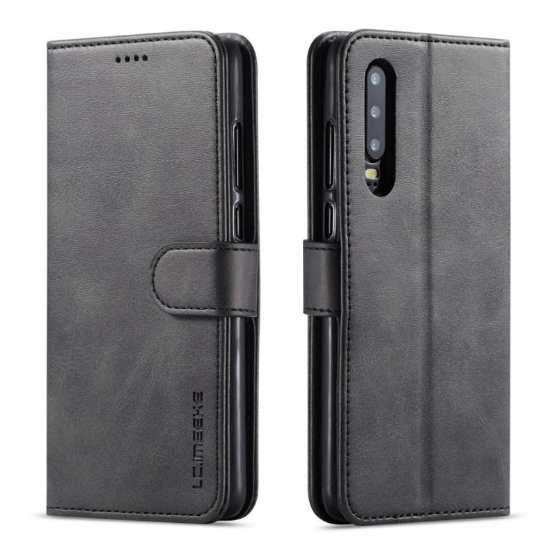 Луксозен кожен флип калъф/тип тефтер за Huawei P30, LC.IMEEKE, Черен