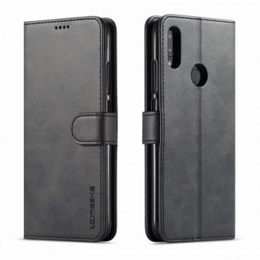 Луксозен кожен флип калъф/тип тефтер за Xiaomi Redmi Note 7, LC.IMEEKE, Черен