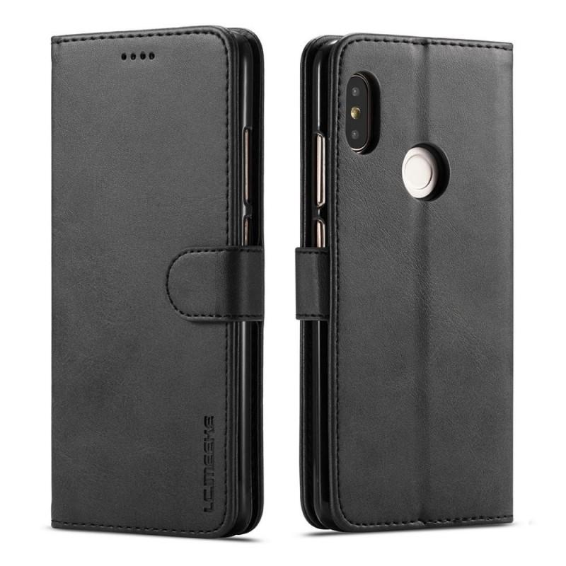 Луксозен кожен флип калъф/тип тефтер за Xiaomi Redmi Note 5 Pro, LC.IMEEKE, Черен