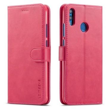Луксозен кожен флип калъф/тип тефтер за Huawei Honor 8X, LC.IMEEKE, Розов
