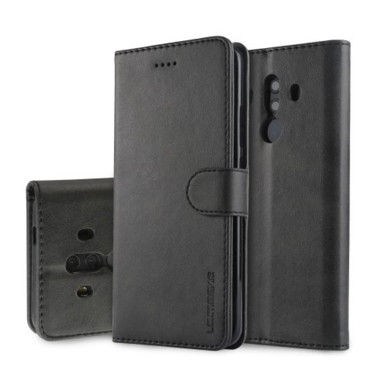 Луксозен кожен флип калъф/тип тефтер за Huawei Mate 10 Pro, LC.IMEEKE, Черен