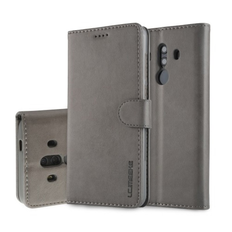 Луксозен кожен флип калъф/тип тефтер за Huawei Mate 10 Pro, LC.IMEEKE, Сив
