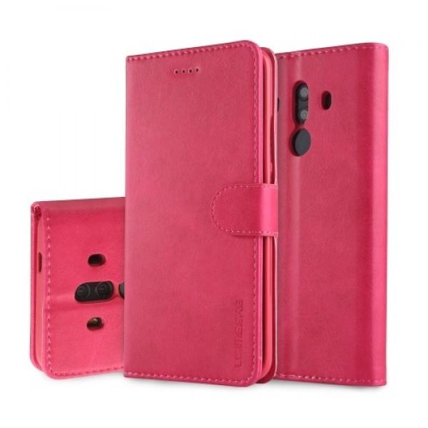 Луксозен кожен флип калъф/тип тефтер за Huawei Mate 10 Pro, LC.IMEEKE, Розов