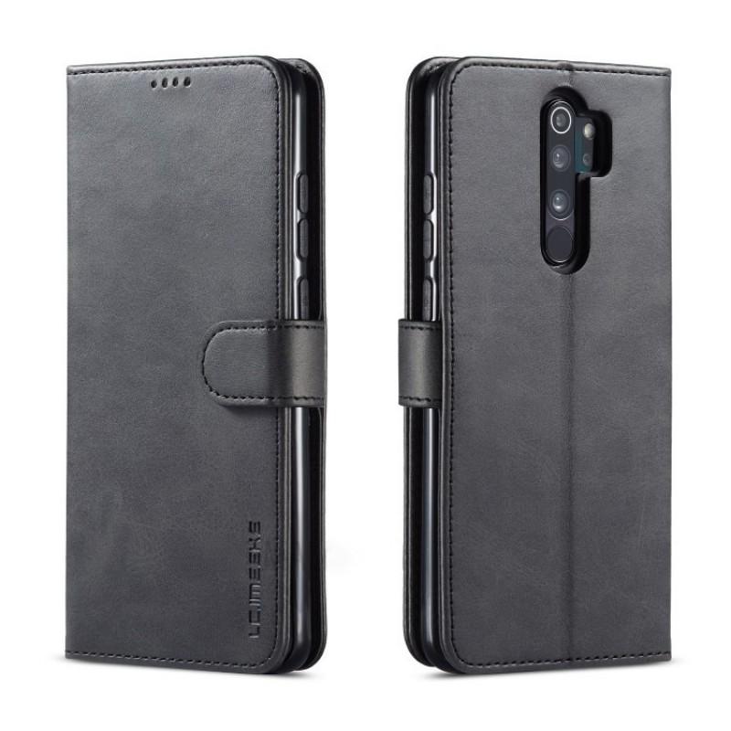 Луксозен кожен флип калъф/тип тефтер за Xiaomi Redmi Note 8 Pro, LC.IMEEKE, Черен