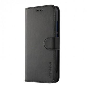 Луксозен кожен флип калъф/тип тефтер за Huawei P20 Lite, LC.IMEEKE, Черен