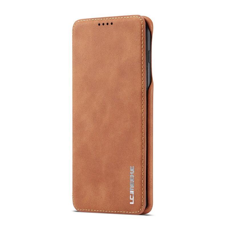 360° Кожен флип кейс/калъф за Samsung Galaxy S10 Plus, LC.IMEEKE, Магнитно Затваряне, Светлокафяв