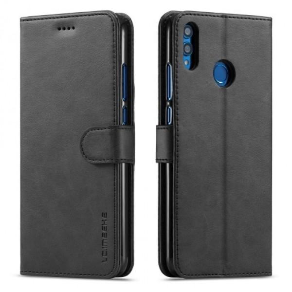 Луксозен кожен флип калъф/тип тефтер за Huawei Honor 8X, LC.IMEEKE, Черен