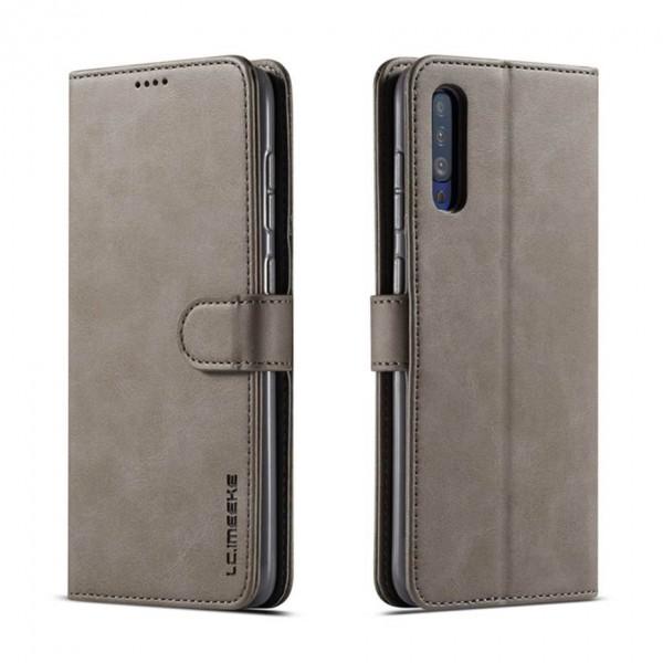 Луксозен кожен флип калъф/тип тефтер за Samsung Galaxy A70, LC.IMEEKE, Сив