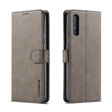 Луксозен кожен флип калъф/тип тефтер за Samsung Galaxy A50, LC.IMEEKE, Сив
