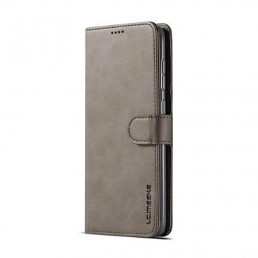 Луксозен кожен флип калъф/тип тефтер за Samsung Galaxy A50s, LC.IMEEKE, Сив