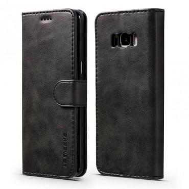 Луксозен кожен флип калъф/тип тефтер за Samsung Galaxy S8 Plus, LC.IMEEKE, Черен
