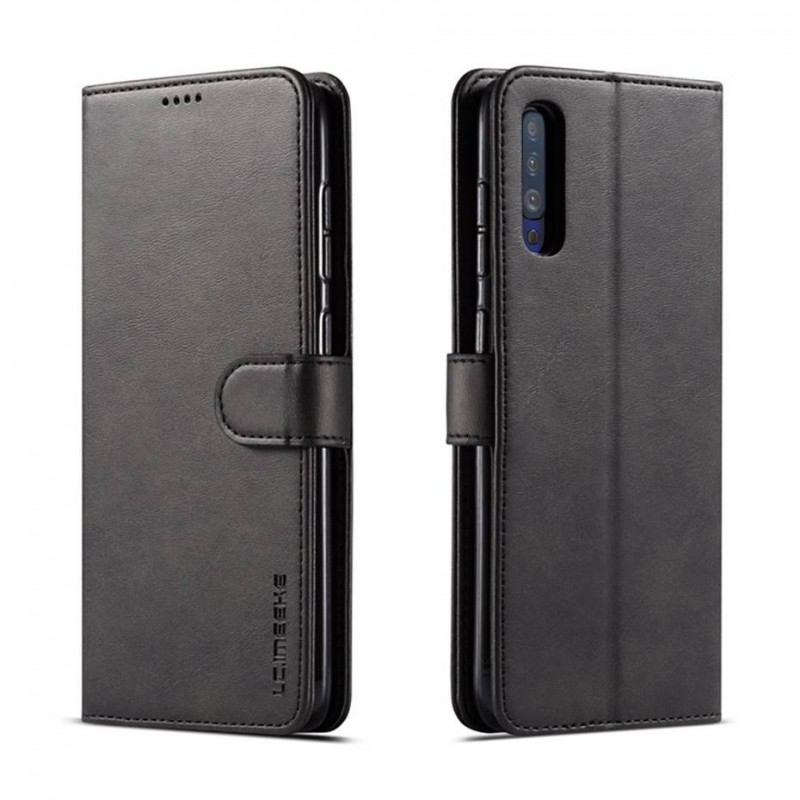 Луксозен кожен флип калъф/тип тефтер за Samsung Galaxy A50, LC.IMEEKE, Черен