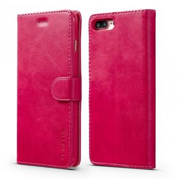 Луксозен кожен флип калъф/тип тефтер за iPhone 8 Plus, LC.IMEEKE, Розов