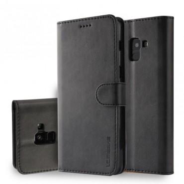 Луксозен кожен флип калъф/тип тефтер за Samsung Galaxy A8 (2018), LC.IMEEKE, Черен
