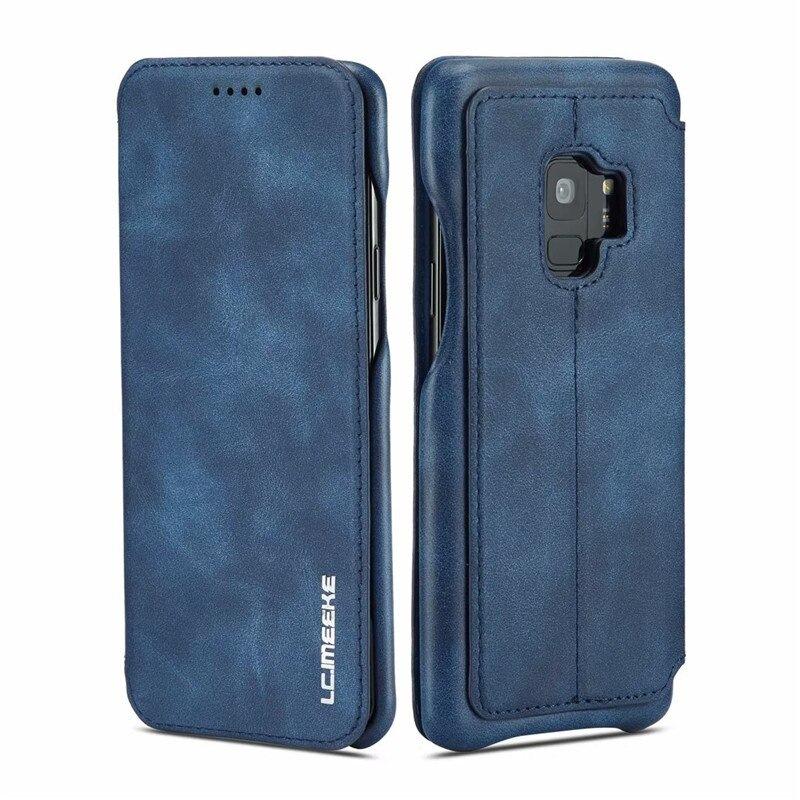 360° Кожен флип кейс/калъф за Samsung Galaxy S9, LC.IMEEKE, Магнитно Затваряне, Син