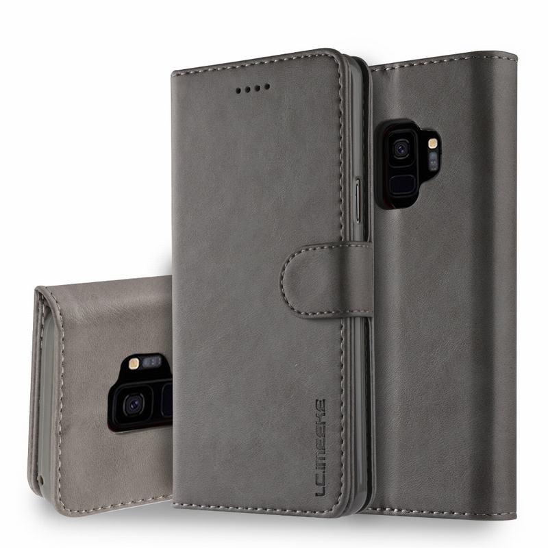 Луксозен кожен флип калъф/тип тефтер за Samsung Galaxy S9, LC.IMEEKE, Сив
