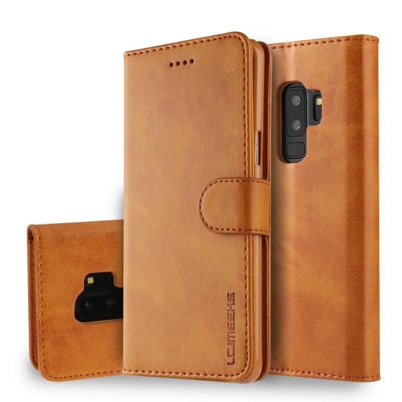 Луксозен кожен флип калъф/тип тефтер за Samsung Galaxy S9 Plus, LC.IMEEKE, Светлокафяв