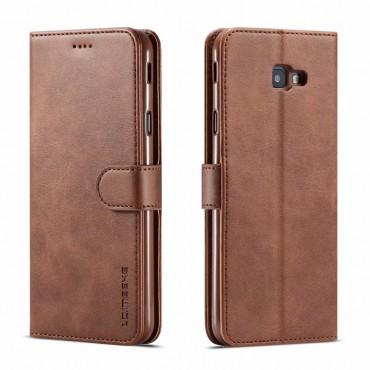 Луксозен кожен флип калъф/тип тефтер за Samsung Galaxy  J4 Plus (2018), LC.IMEEKE, Тъмнокафяв