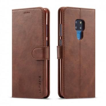 Луксозен кожен флип калъф/тип тефтер за Huawei Mate 20, LC.IMEEKE, Тъмнокафяв