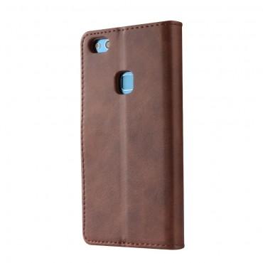 Луксозен кожен флип калъф/тип тефтер за Huawei P10 Lite, LC.IMEEKE, Тъмнокафяв
