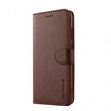 Луксозен кожен флип калъф/тип тефтер за Huawei P20 Lite, LC.IMEEKE, Тъмнокафяв