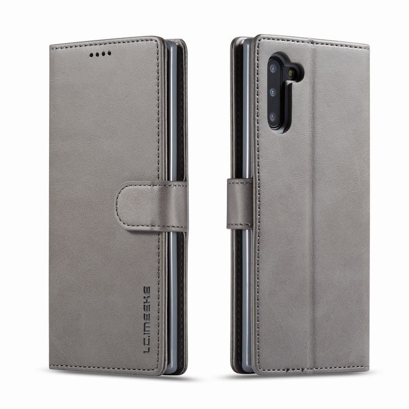 Луксозен кожен флип калъф/тип тефтер за Samsung Galaxy Note 10, LC.IMEEKE, Сив