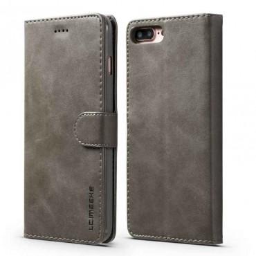 Луксозен кожен флип калъф/тип тефтер за iPhone 7 Plus, LC.IMEEKE, Сив