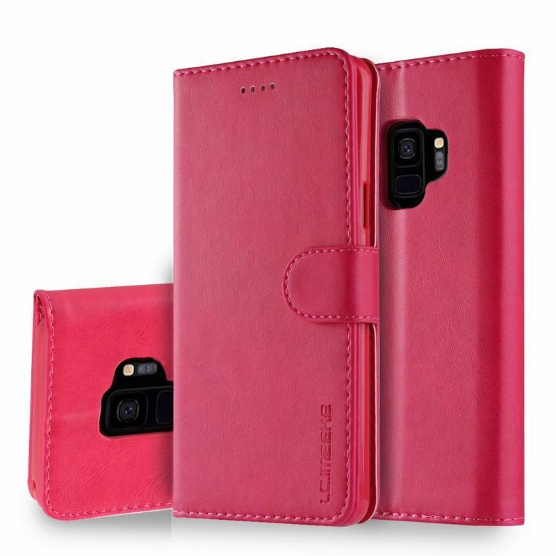 Луксозен кожен флип калъф/тип тефтер за Samsung Galaxy S9, LC.IMEEKE, Розов